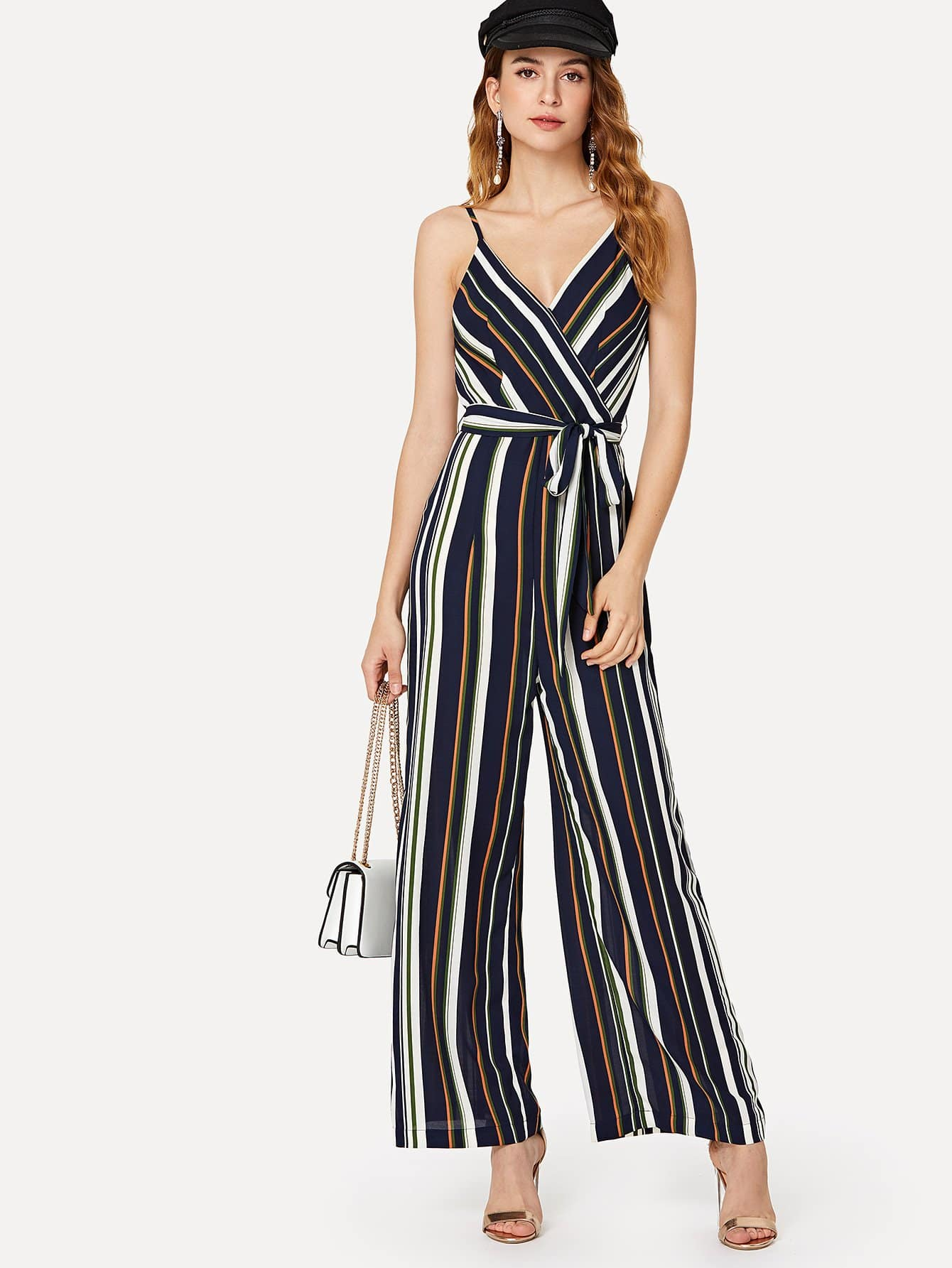 Self Belted Wide Leg Wrap Striped Cami Jumpsuit mixed print belted wrap jumpsuit
