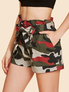 Camo Print Tie Waist Shorts