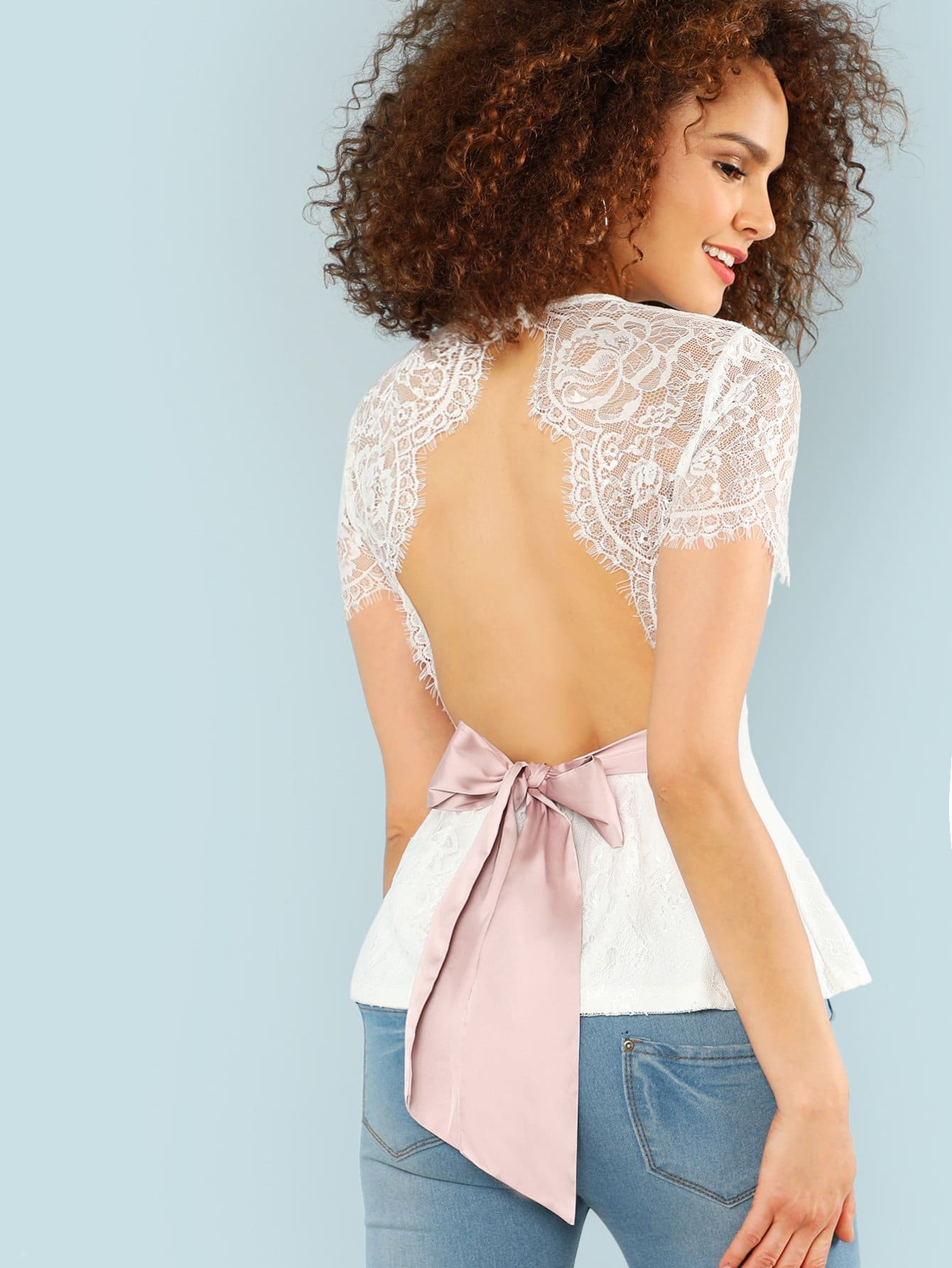 Open Back Eyelash Lace Overlay Top silver sequins embellished open back lace up top