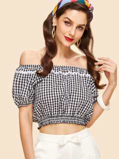 Wave Lace Trim Gingham Bardot Top