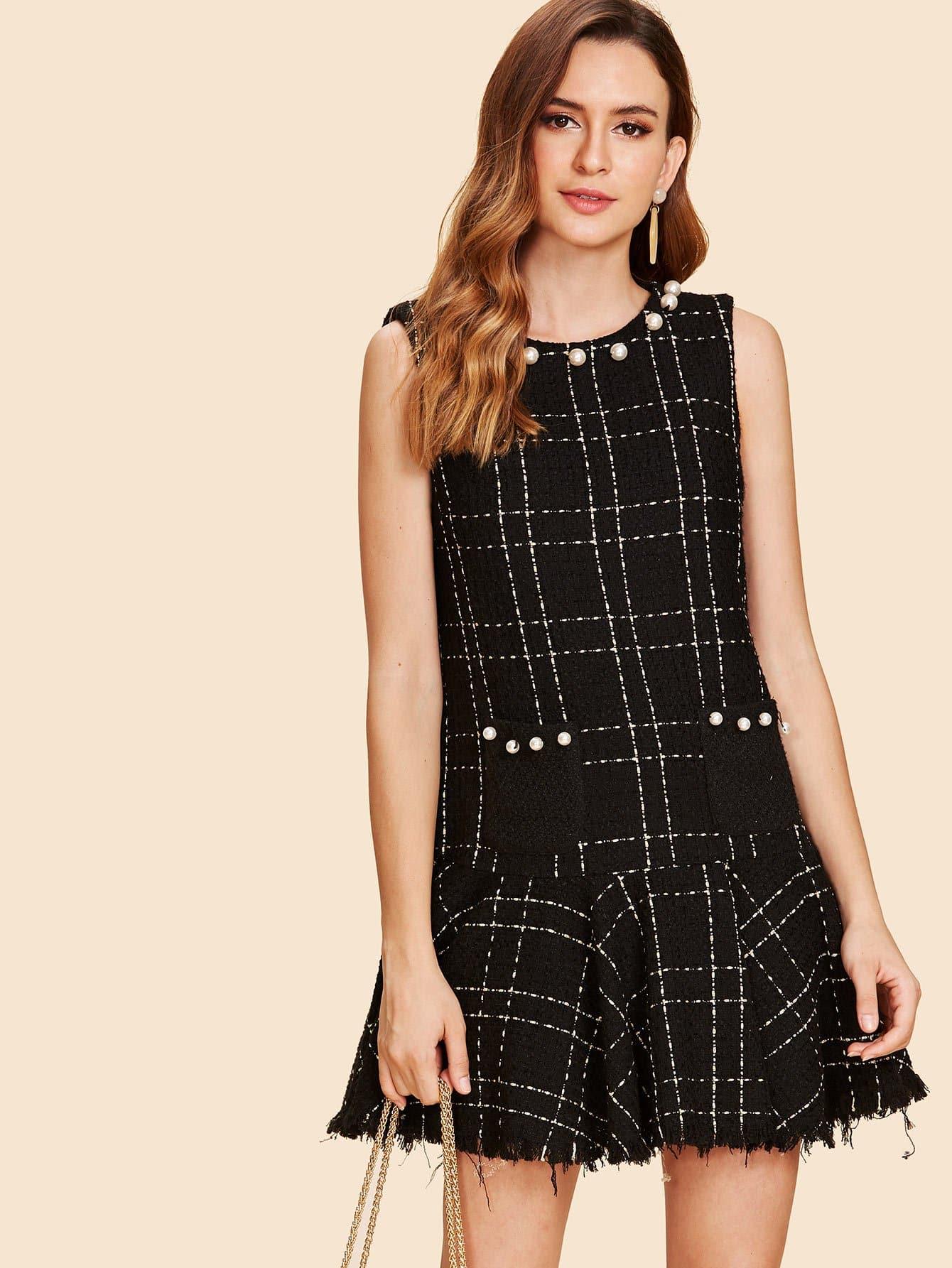 Pearl Detail Ruffle Raw Hem Dress asymmetrical hem faux pearl detail dress
