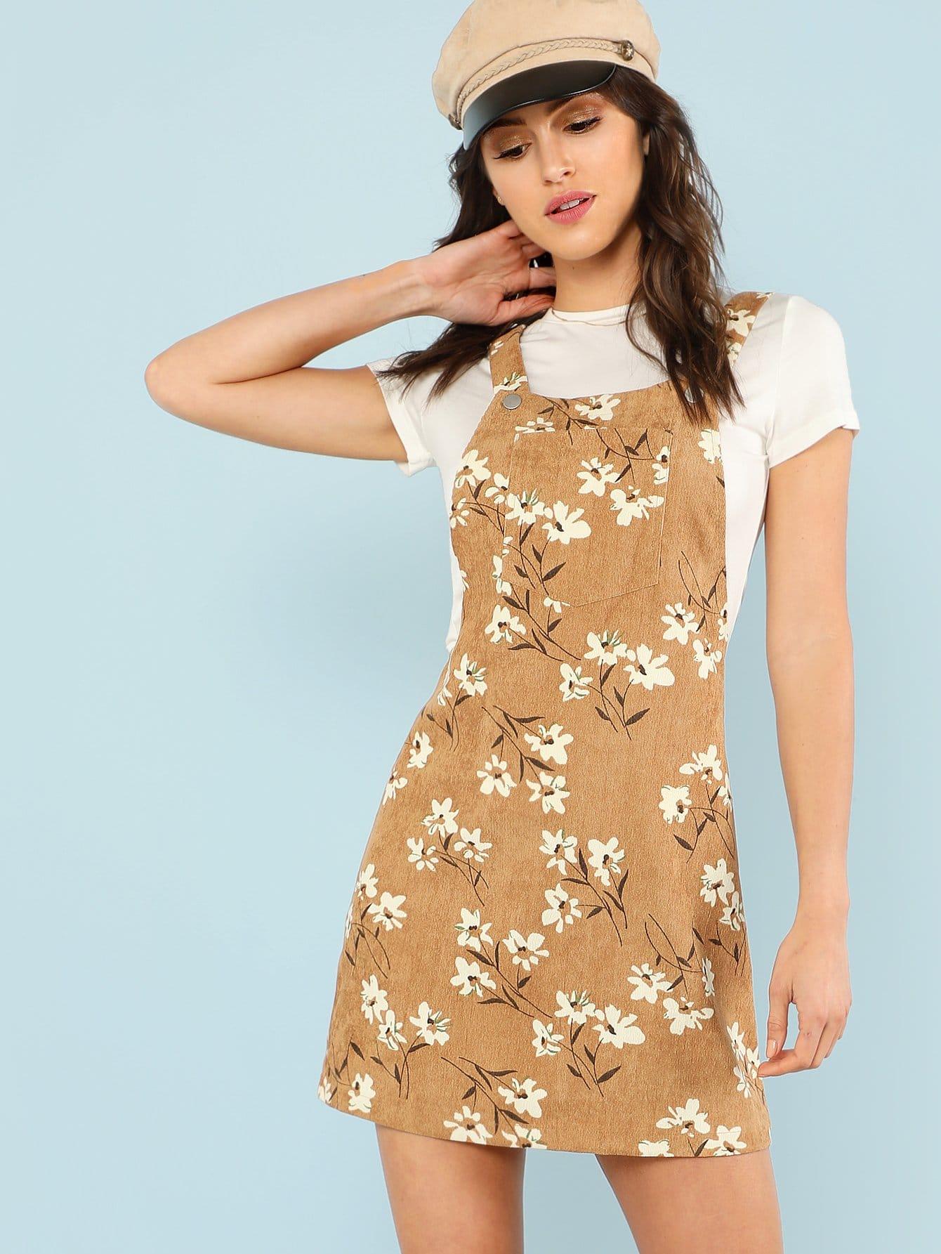 Daisy Print Overall Dress overall yumi overall