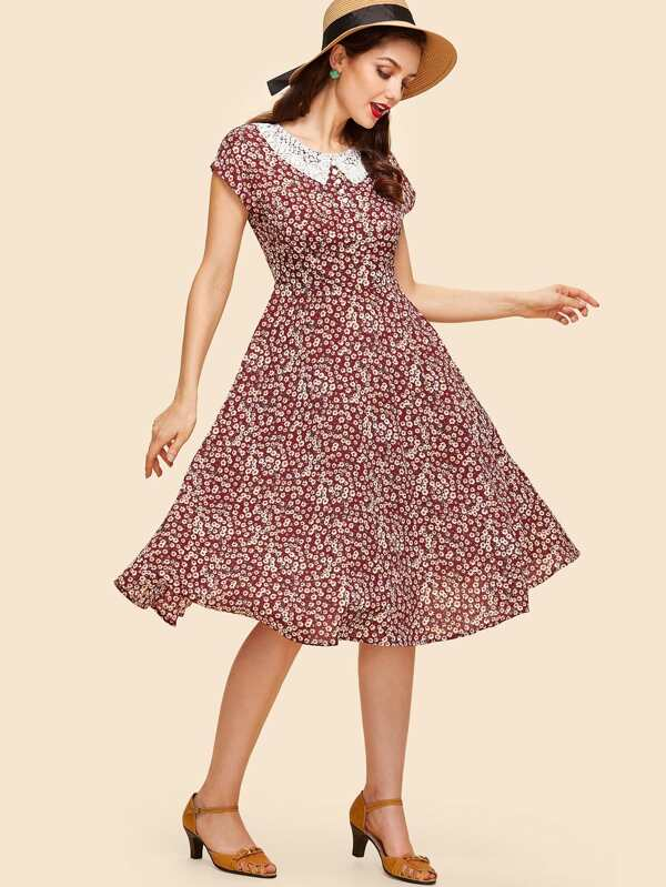 Contrast Lace Collar Ditsy Fit & Flare Dress by Shein
