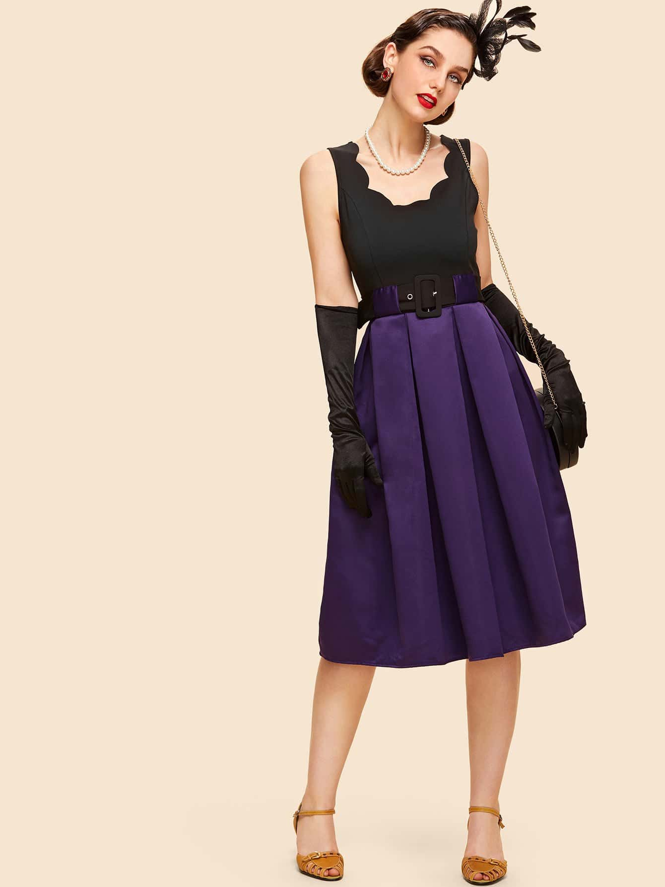 Two Tone Scalloped Box Pleated Dress with Buckle Belt drop crotch loose two tone pants