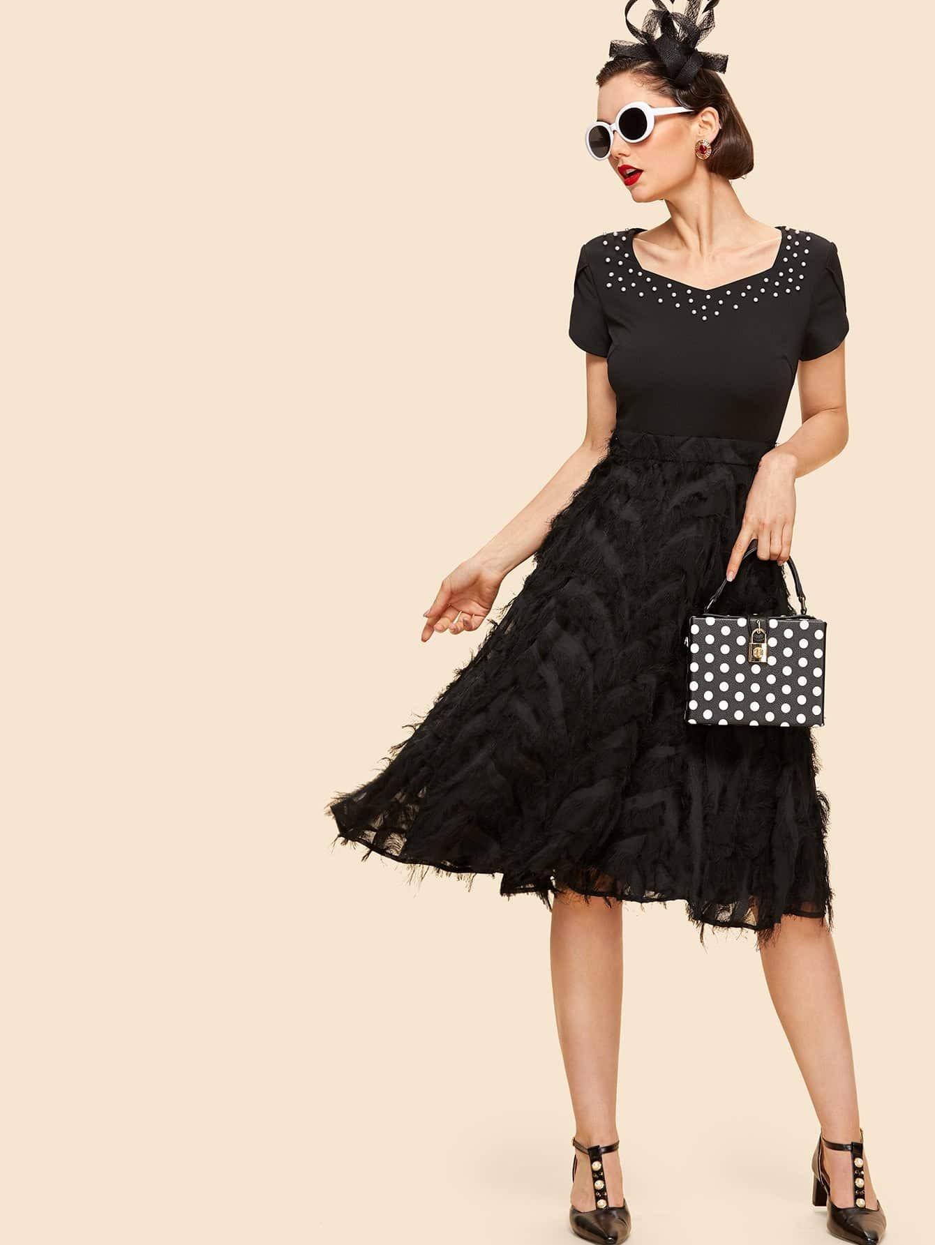 Pearl Beading Layered Fringe Detail Dress pearl beading layered fringe detail dress