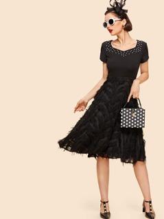 Pearl Beading Layered Fringe Detail Dress