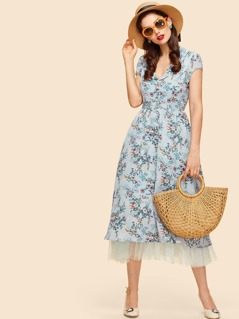 Shawl Collar Half Placket Mesh Lining Floral Dress