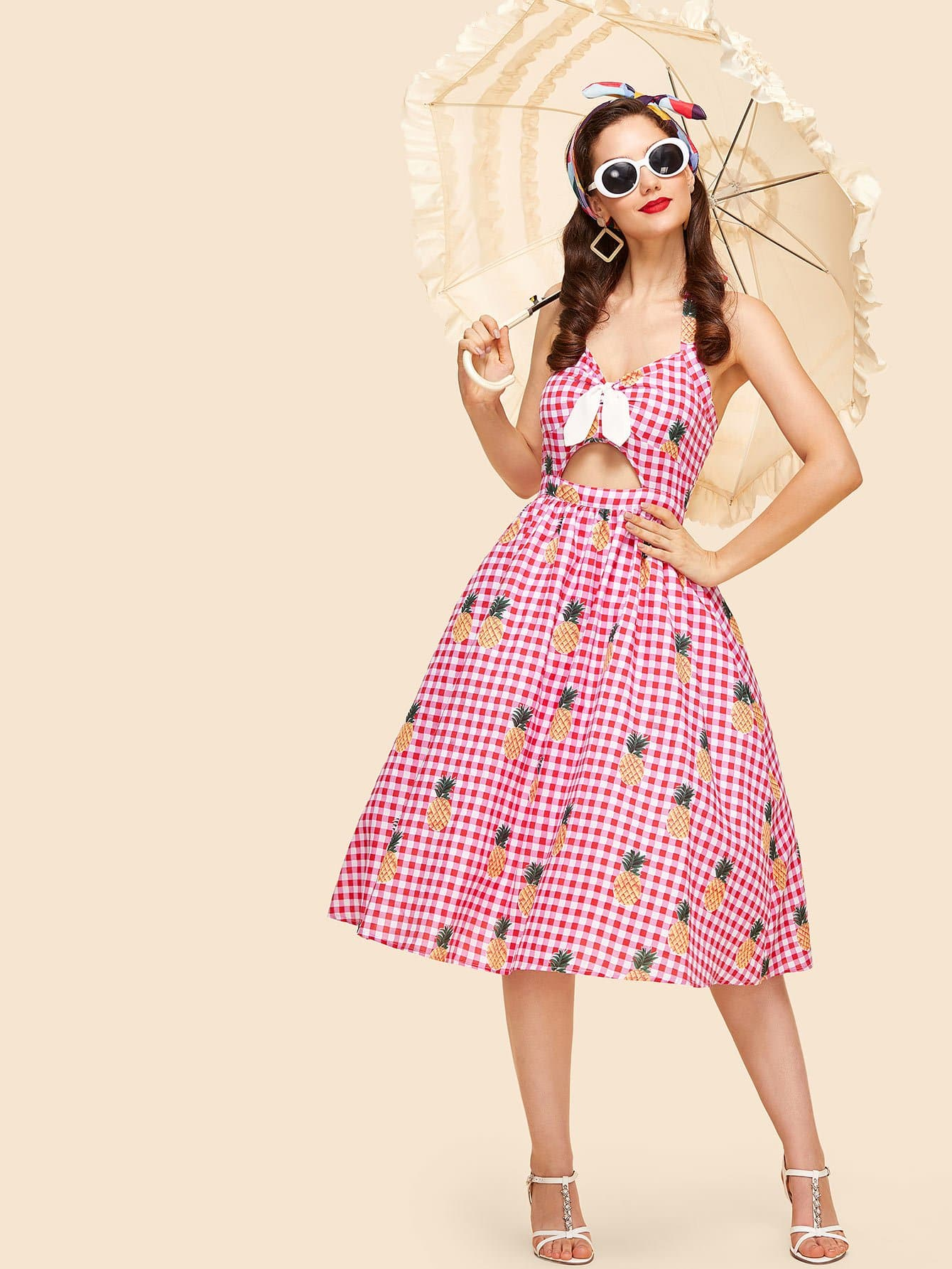 Knot Front Cutout Midriff Halterneck Gingham Dress collared wrap front gingham tiered dress