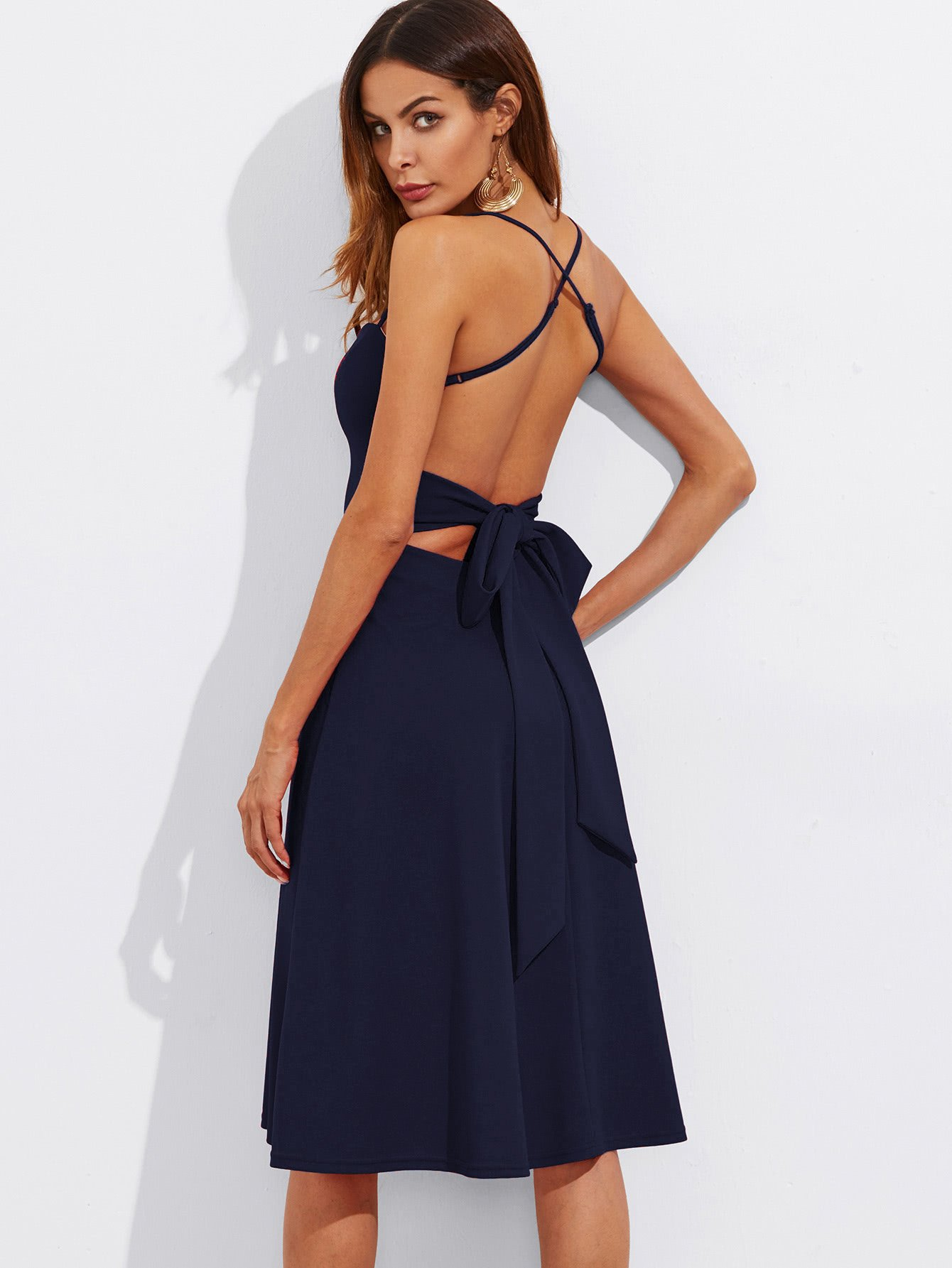 Crisscross Belted Back Fitted & Flared Dress zip back flared pants