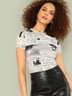 Newspaper Graphic Print Tee