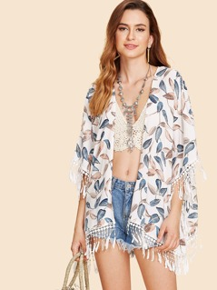 Leaf Print Fringe Trim Kimono