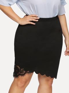 Lace Insert Scalloped Asymmetrical Hem Skirt