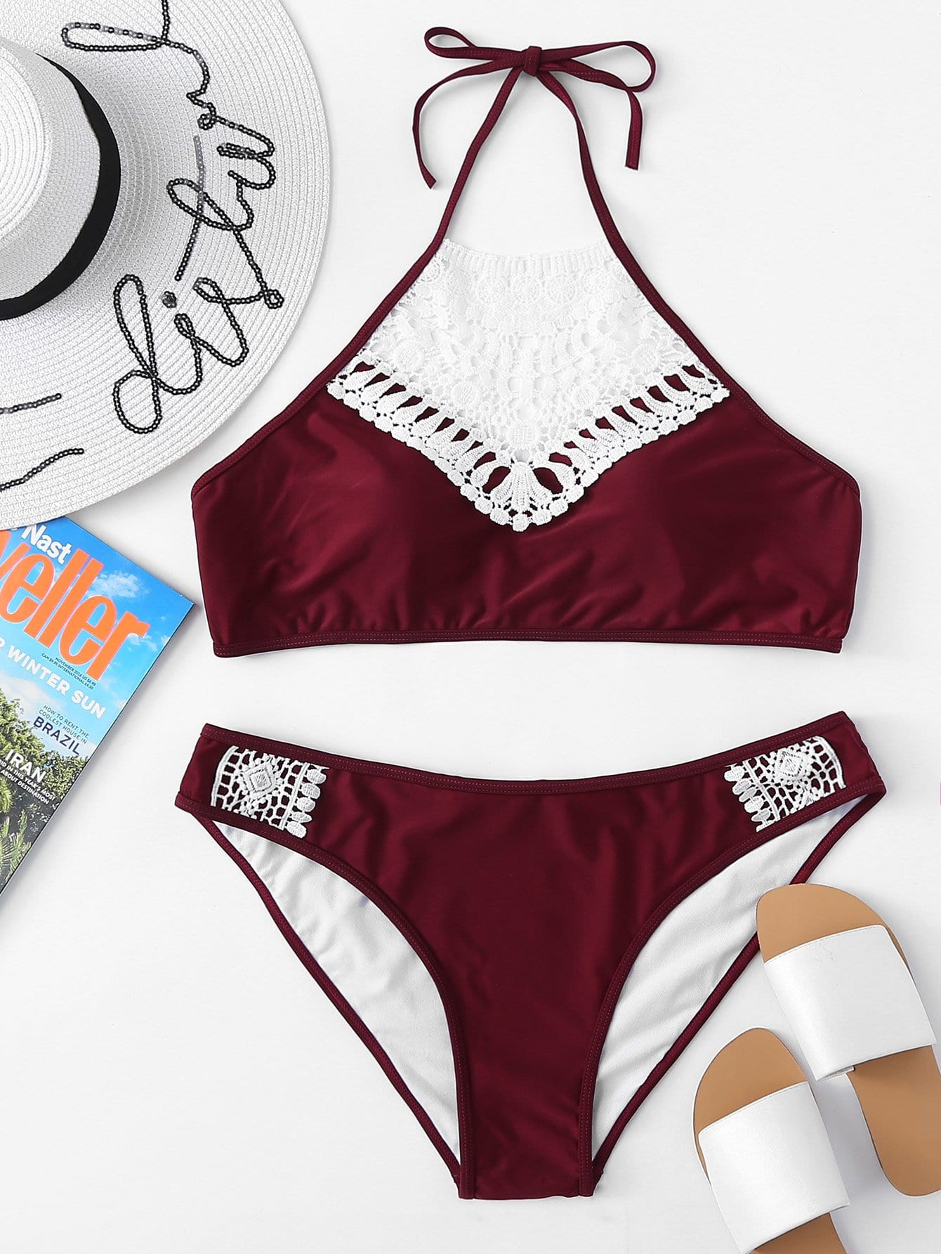 Contrast Lace High Neck Bikini Set contrast lace high neck bikini set