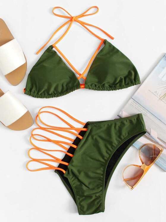 b52694aefa Plus Halter Top With Strappy Asymmetric Bikini Set   MakeMeChic.COM