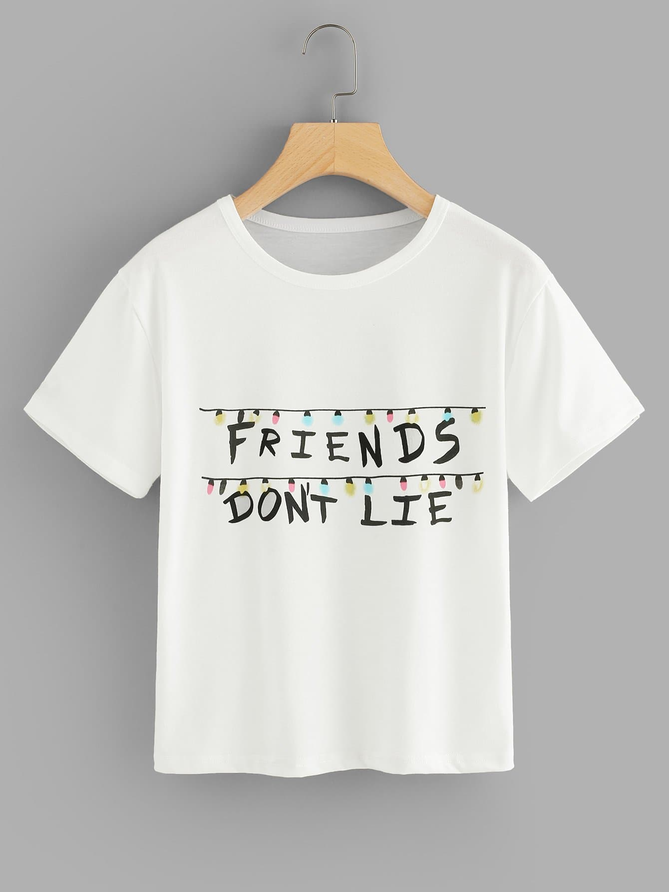 Letter Print T-shirt letter and gesture print t shirt