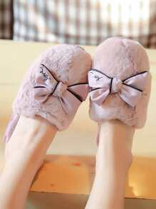 Contrast Piping Bow Decor Fluffy Slippers