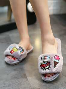 Patch Decor Peep Toe Slippers