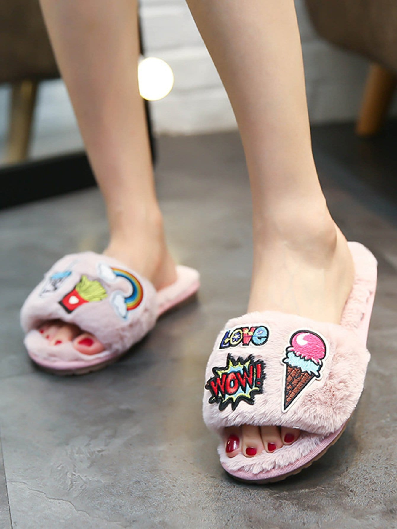 Patch Decor Peep Toe Slippers floral patch detail peep toe sliders