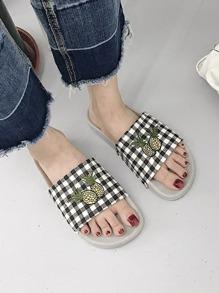 Plaid Peep Toe Sliders