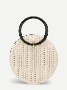 Ring Detail Straw Round Chain Bag