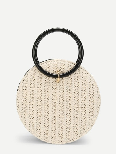 Ring Detail Straw Round Chain Bag