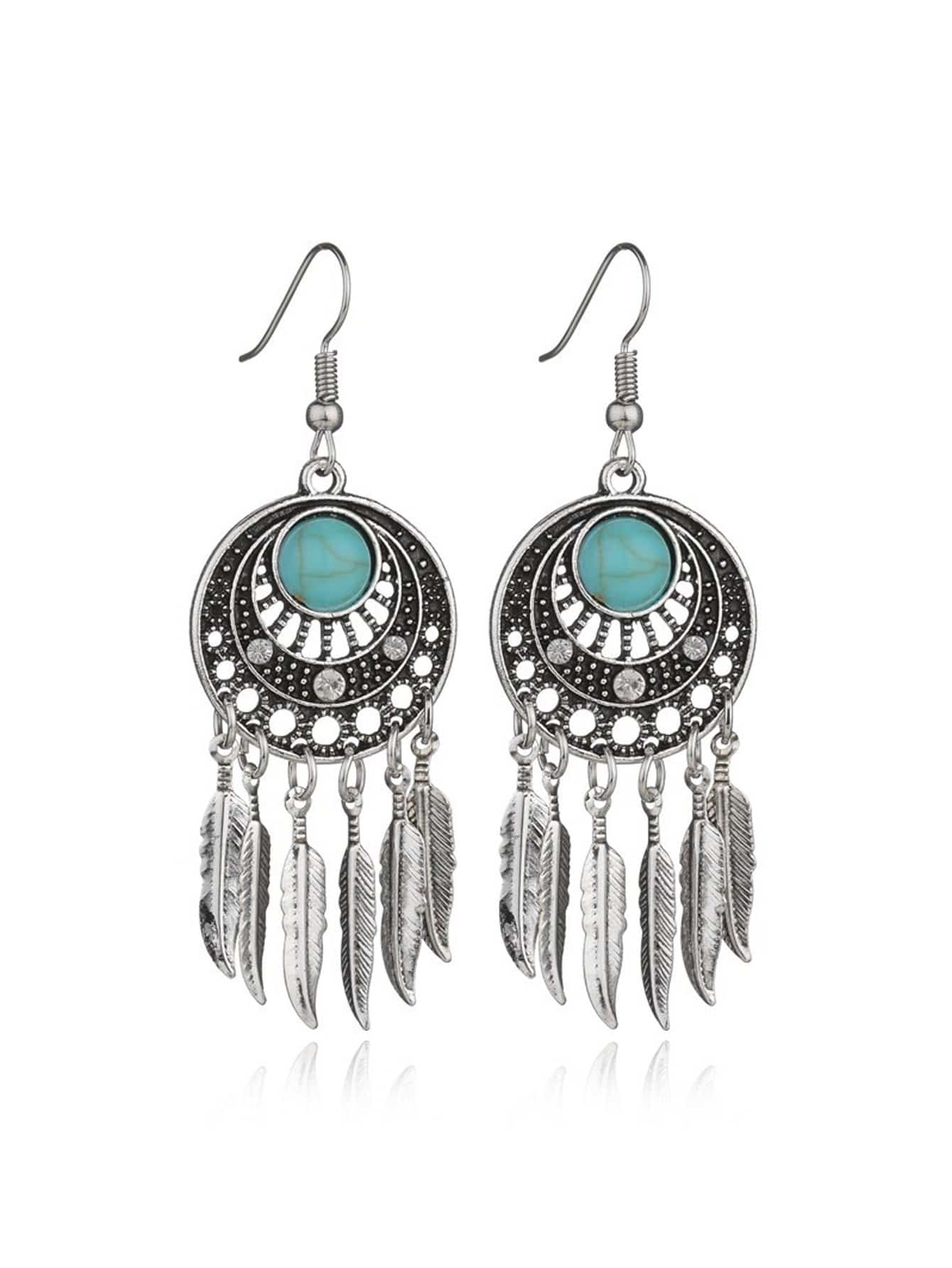 Feather Detail Statement Earrings