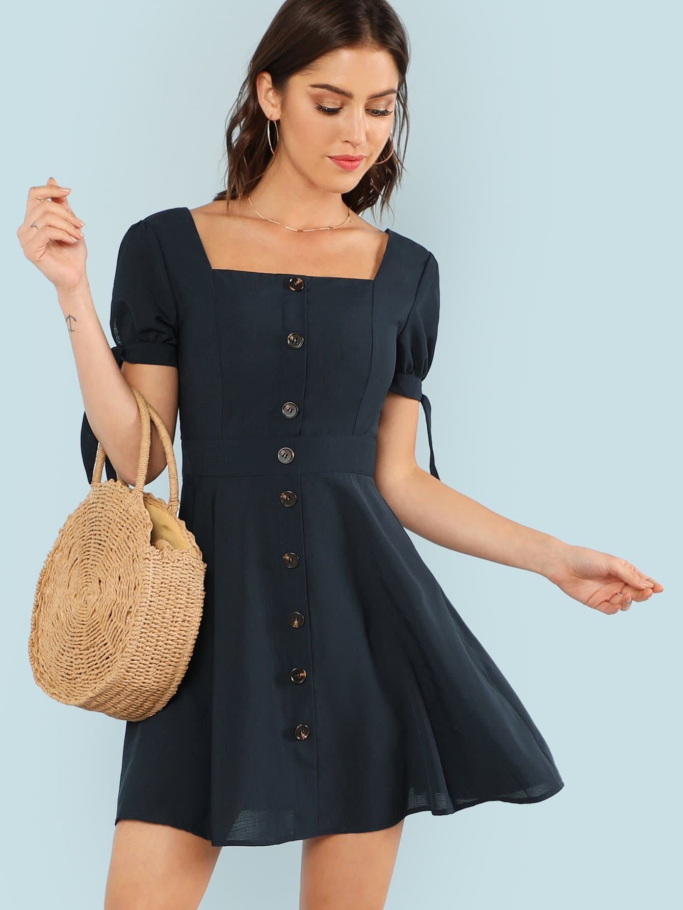 Knot Cuff Button Up Fit & Flare Dress button up v neck fit and flare dress