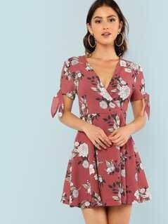 Knot Cuff Flower Print Wrap Dress