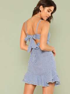 Tiered Ruffle Hem Gingham Cami Dress