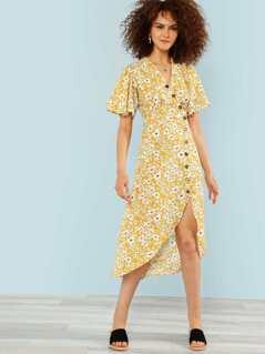 Calico Print Button Up Dress
