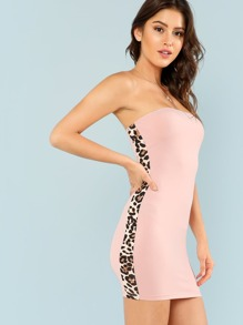 Leopard Print Side Strapless Dress