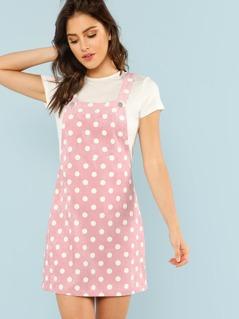 Polka Dot Print Overall Dress