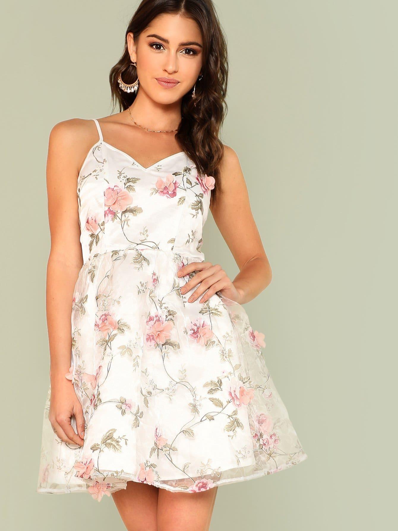 Купить Платье с вышивкой, Gigi Paris, SheIn