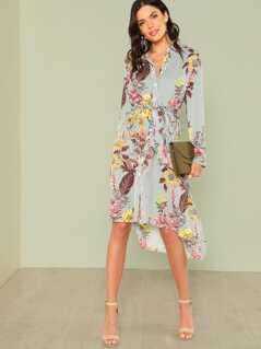 Slit Side Mixed Print Dip Hem Shirt Dress