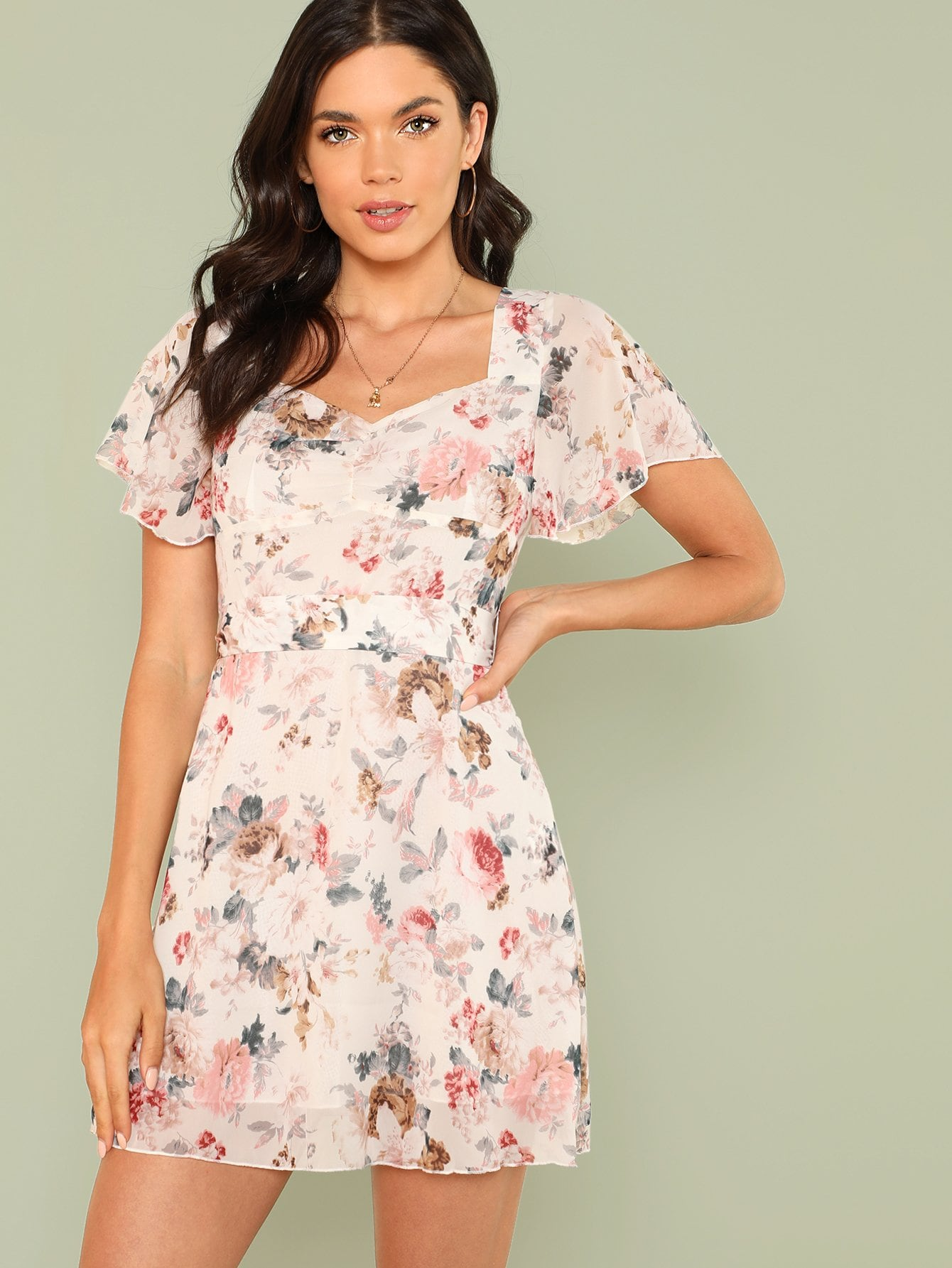 Flutter Sleeve Tie Waist Floral Dress flutter sleeve elastic waist floral dress