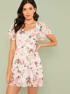 Flutter Sleeve Tie Waist Floral Dress