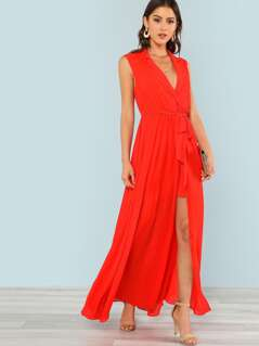 Notch Neck Tie Waist Surplice Wrap Maxi Dress