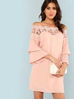 Lace Trim Pleated Layered Flounce Dress