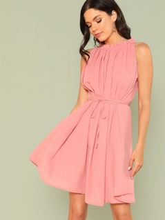 Frilled Neck Solid Dress