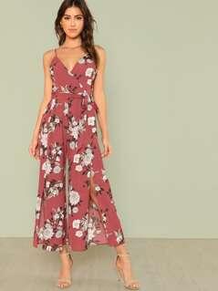 Slit Hem Flower Print Cami Jumpsuit
