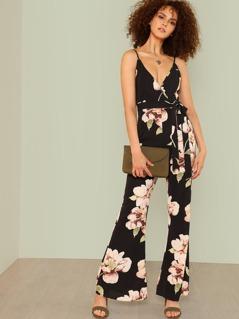 Flower Print Flare Hem Wrap Jumpsuit