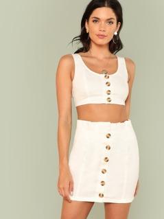 Button Up Crop Top & Skirt Set