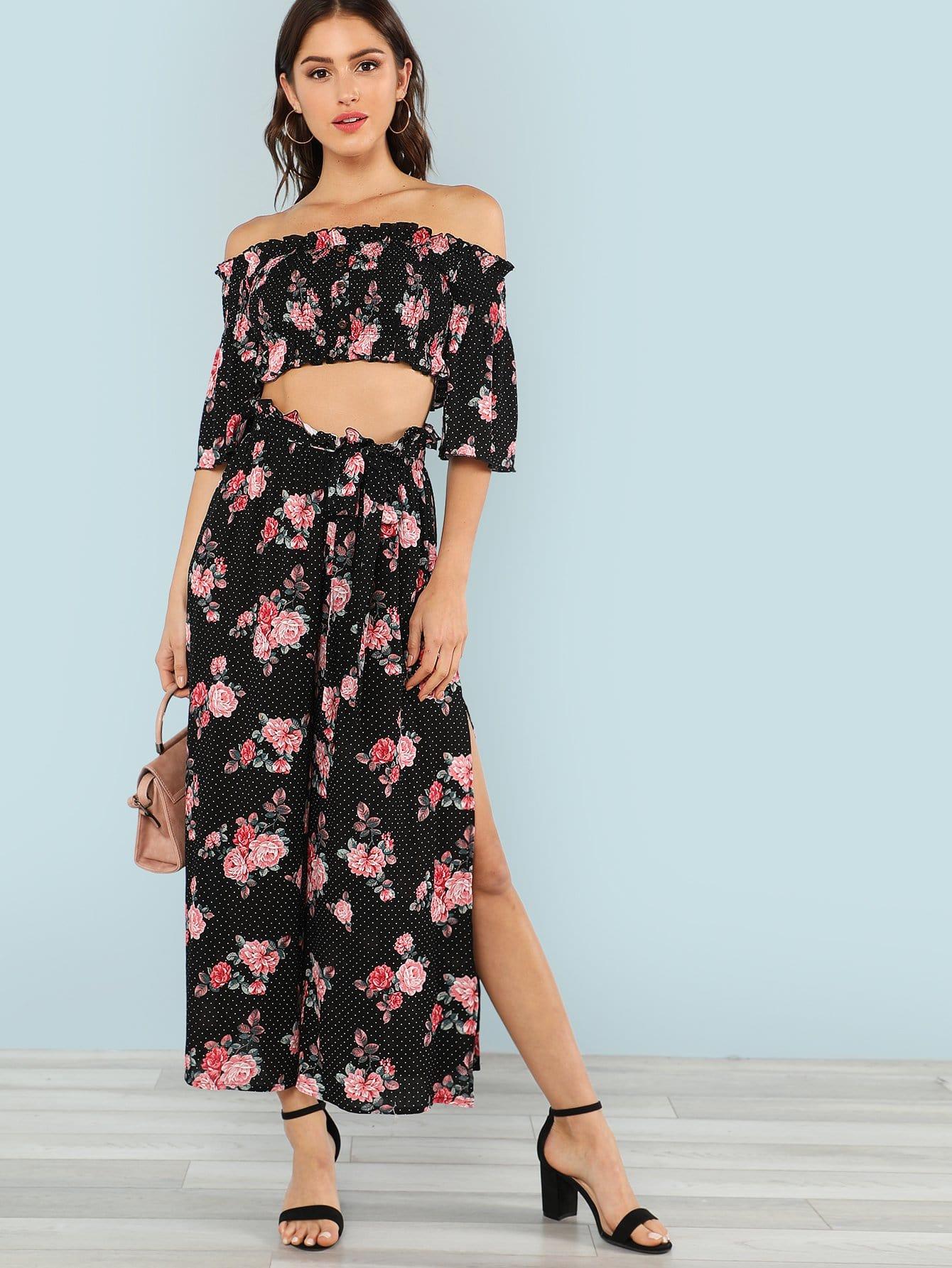 Flounce Sleeve Floral Bardot Top & Pants Set floral flounce bardot dress