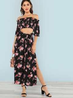 Flounce Sleeve Floral Bardot Top & Pants Set