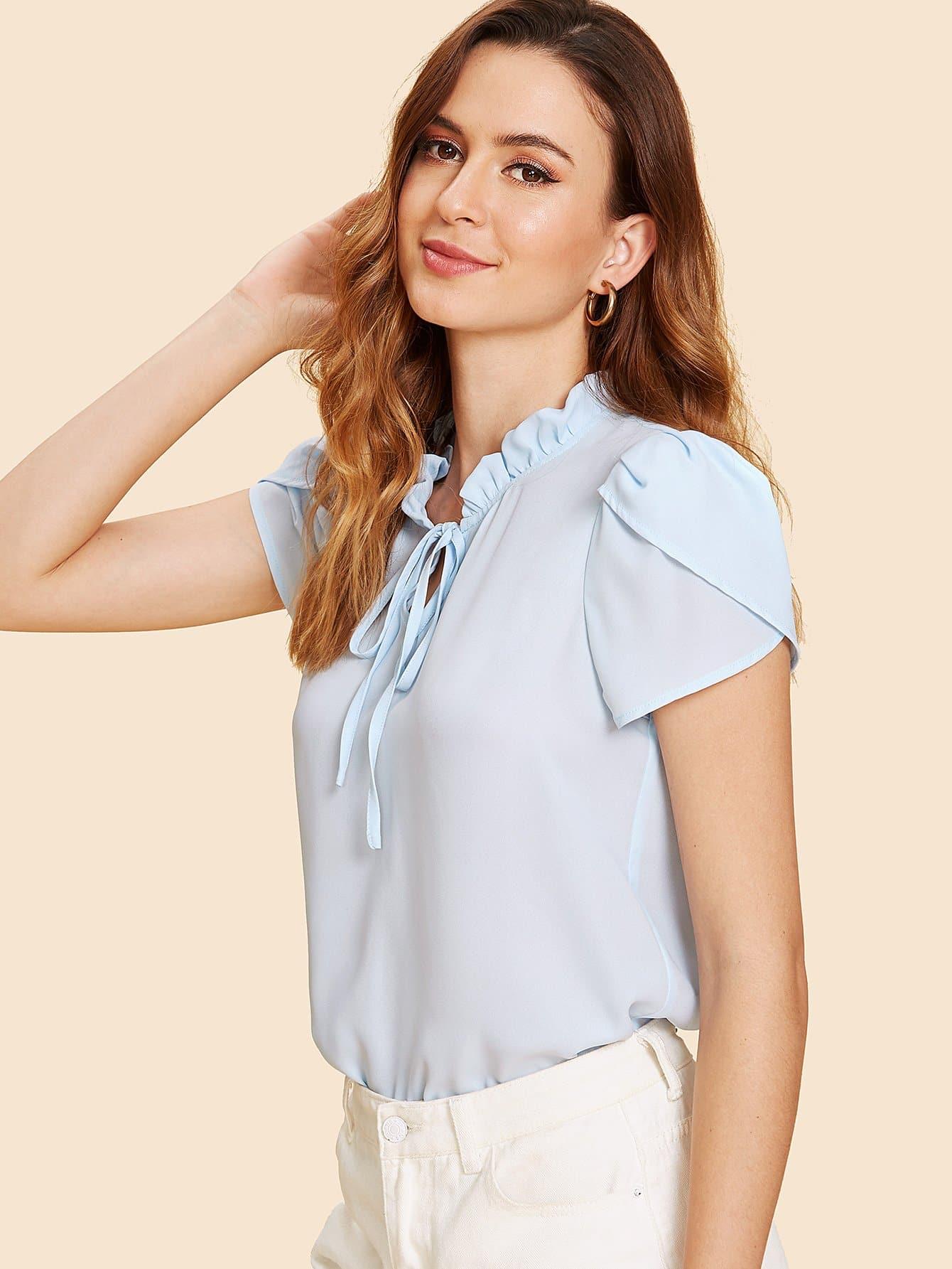 Frilled Tie Neck Petal Sleeve Top petal sleeve self tie blouse