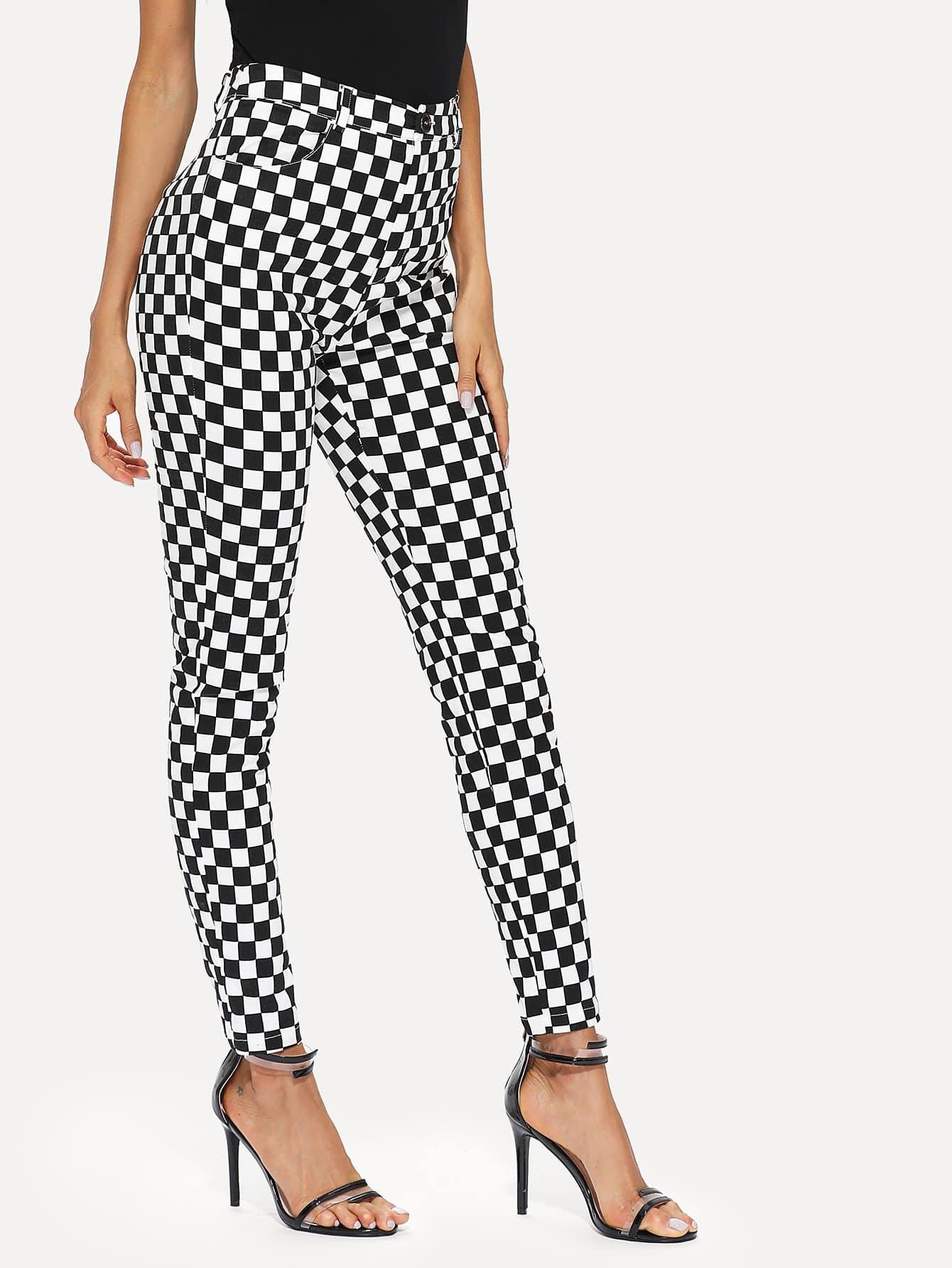 Check Print Skinny Pants zip back skinny pants