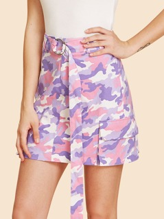 Flap Pocket Detail Camo Skirt with O-Ring Belt