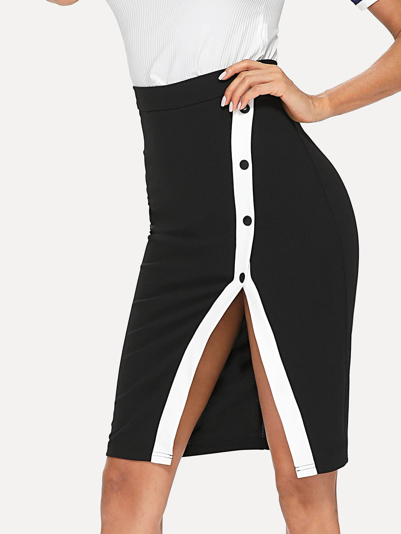 Buttoned Contrast Panel Split Pencil Skirt slit back contrast feather pencil skirt