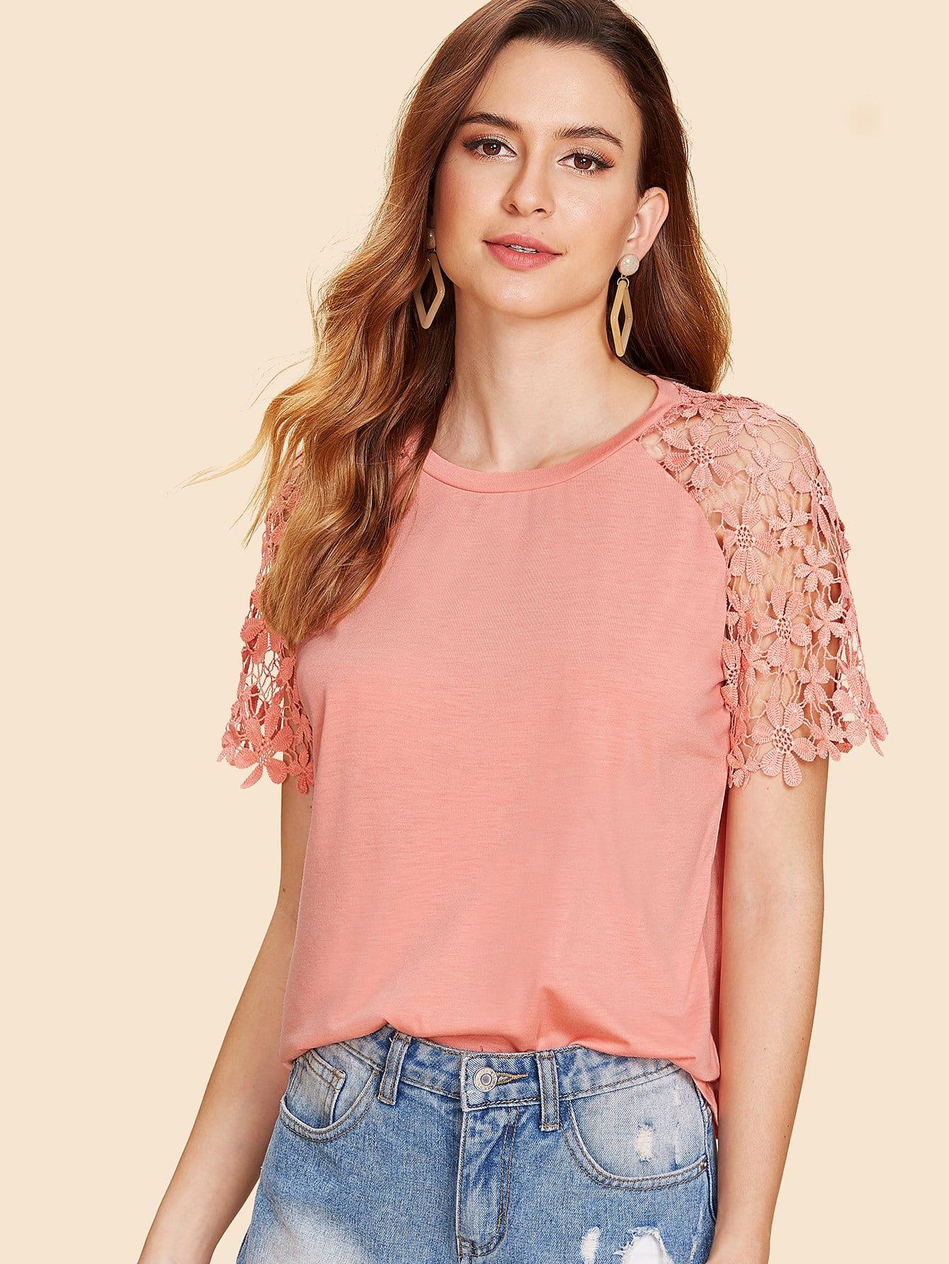 Floral Lace Raglan Sleeve T-shirt plus size floral raglan sleeve lace t shirt