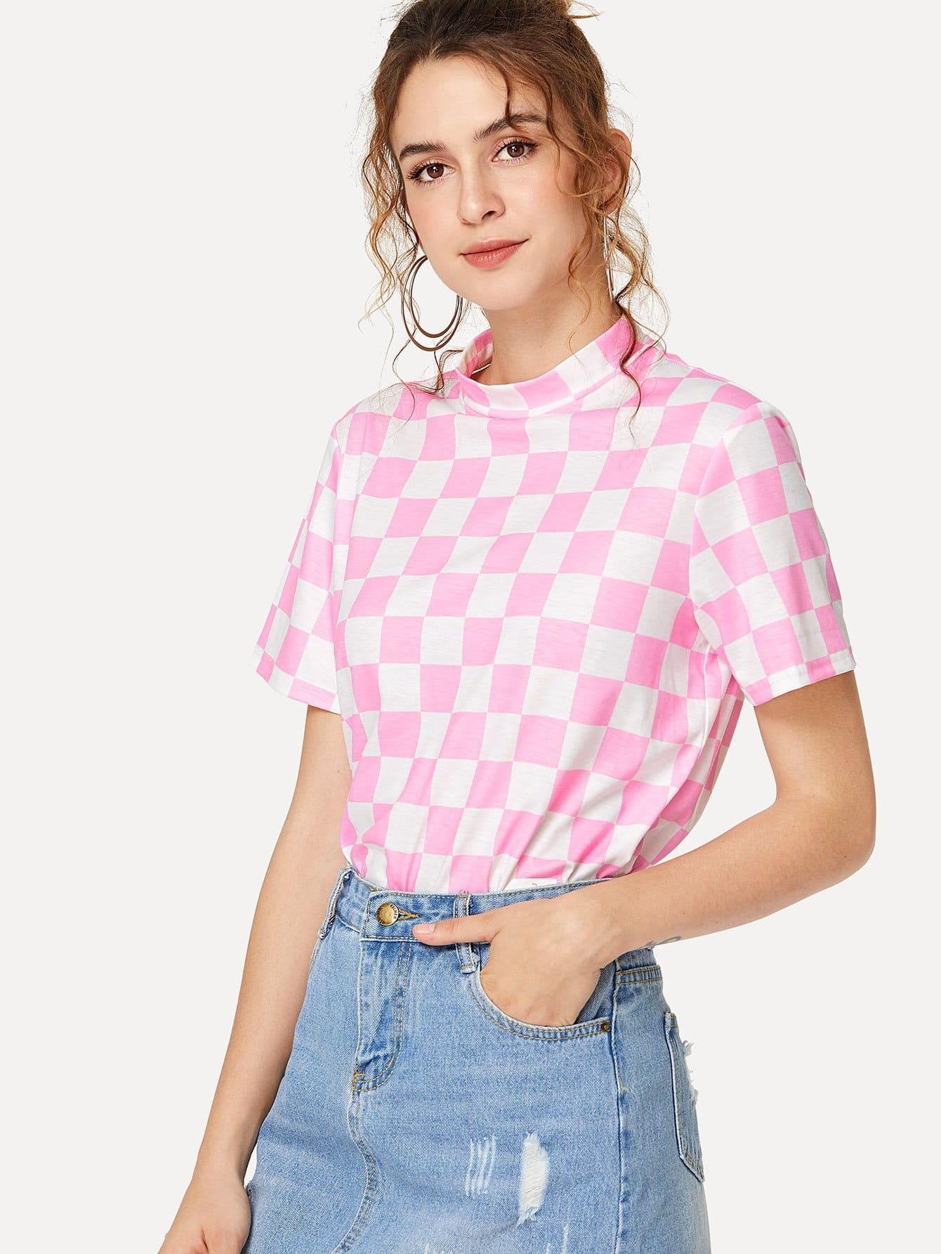 Mock Neck Checked Tee lace up mock neck tee